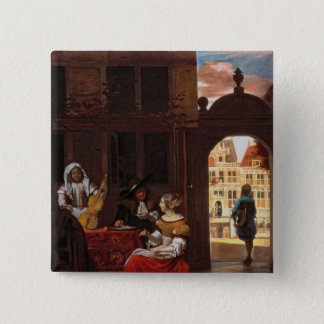 A Musical Party, 1677 15 Cm Square Badge