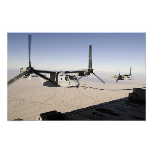 A MV-22 Osprey refuels midflight Poster