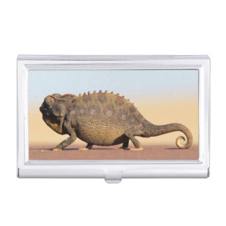 A Namaqua Chameleon walking across a sandy plain Business Card Holder