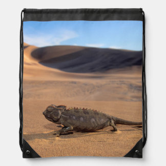 A Namaqua Chameleon walking Drawstring Bag