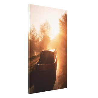 A Narrowboat on the Oxford Canal Canvas Print.