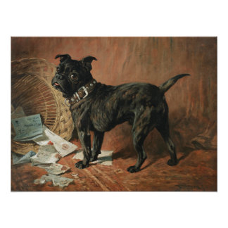 A Naughty Black Pug by John Emms Poster