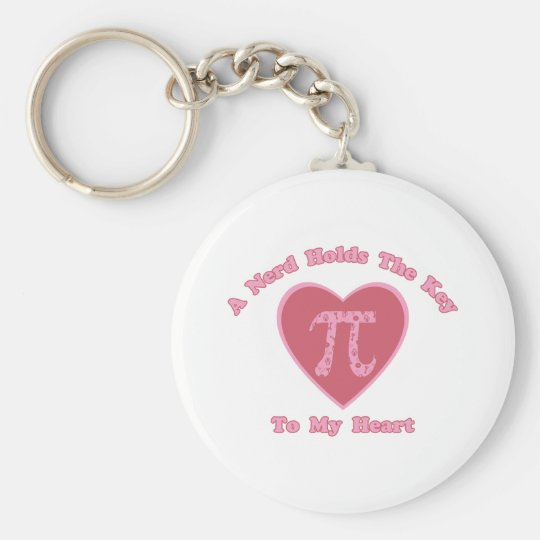 A Nerd Holds the Key To My Heart - Valentine Pi Basic Round Button Key Ring