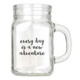A New Adventure Quote Mason Jar