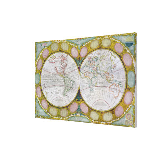 A New and Correct Map of the World, 1770-97 Canvas Print