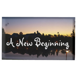 A New Beginning Wedding Phrase With Sunrise Photo Table Card Holder