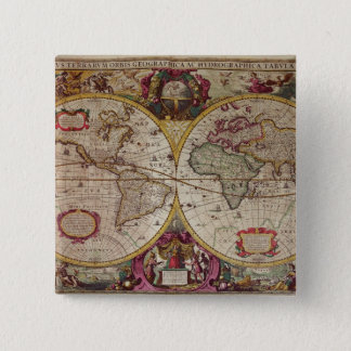 A New Land and Water Map of the Entire Earth 15 Cm Square Badge