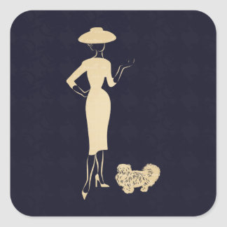 A New Look Vintage 1950s Fashion Square Sticker