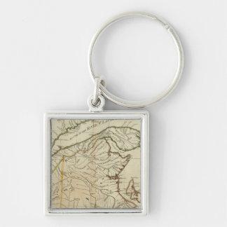 A New Map of Nova Scotia, and Cape Breton Island Silver-Colored Square Key Ring