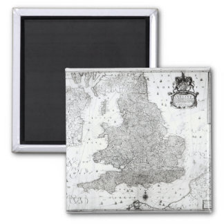 A New Map of the Kingdom of England Square Magnet