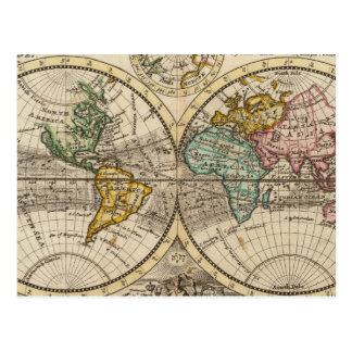 A new map of the whole world with trade winds postcard
