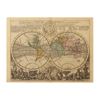A new map of the whole world with trade winds wood print