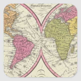 A New Map Of The World on the Globular Projection Square Stickers