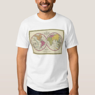 A New Map Of The World on the Globular Projection Tshirts