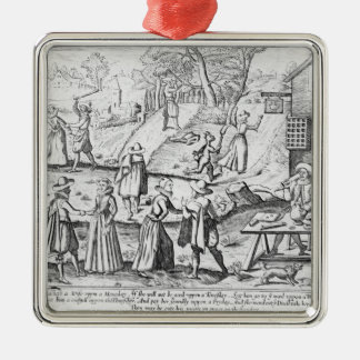 A New Year's Gift for Shrews Silver-Colored Square Decoration