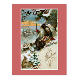 """""""A New Year's Wish"""" Vintage Postcard"""