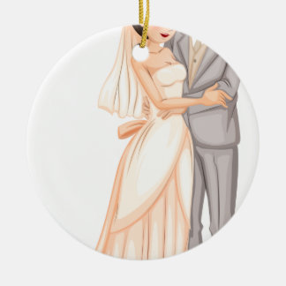 A newly-wed couple round ceramic ornament