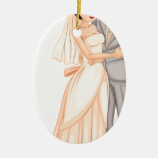 A newly-wed couple ceramic oval ornament