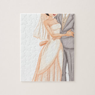 A newly-wed couple puzzles