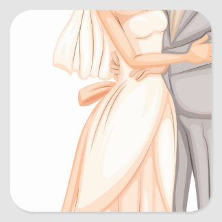 A newly-wed couple square sticker