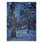 A Nighttime Walk Through Winter Snow Poster