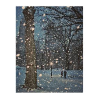 A Nighttime Walk Through Winter Snow Wood Canvas