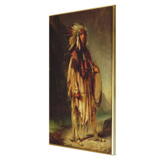 A North American Indian in an Extensive Landscape, Canvas Print