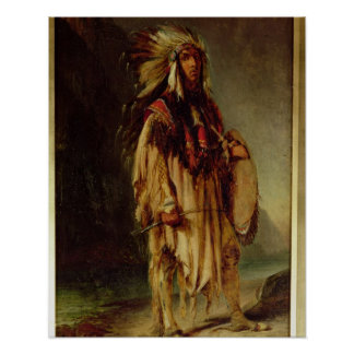 A North American Indian in an Extensive Landscape, Poster