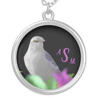 A Northern Mocking Bird with Purple & Green Leaves Silver Plated Necklace