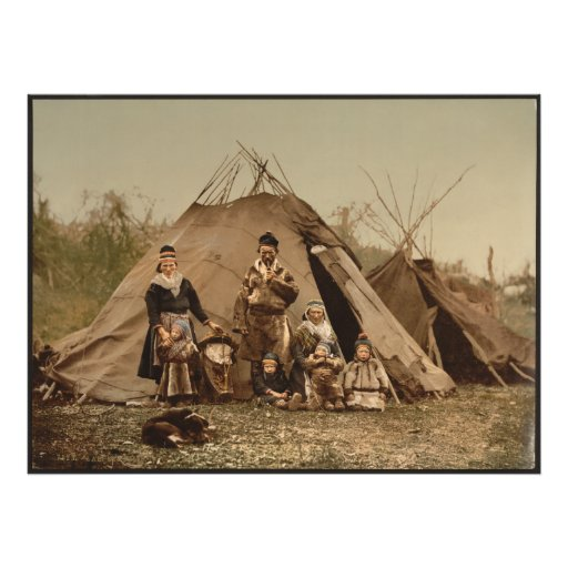 A Norwegian Lapp Family in Norway from 1890 Photo Print
