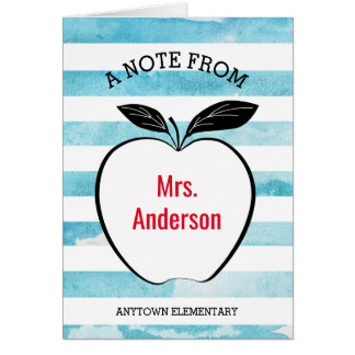 A Note From Teacher I Apple & Watercolor Stripes Card