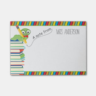 A Note From Teacher with a Bookworm Post-it® Notes