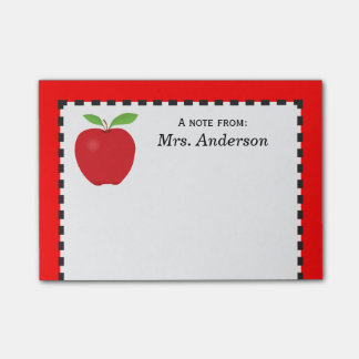 A Note From Teacher with Red Apple Post-it® Notes