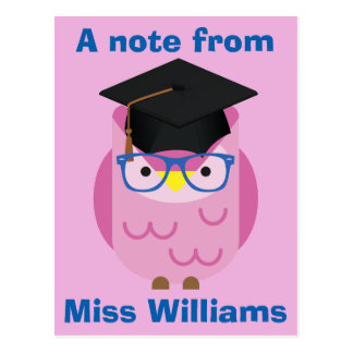 A note from the Teacher Purple Owl Postcard