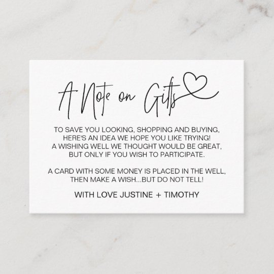A Note On Gifts Wedding Wishing Well Card Heart