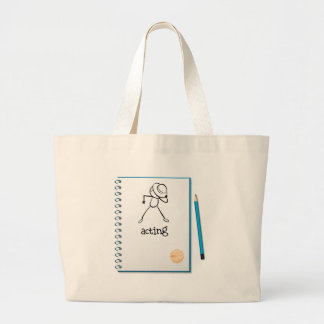 A notebook with a sketch of a person acting at the jumbo tote bag