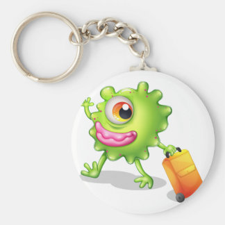 A one-eyed green monster moving basic round button key ring