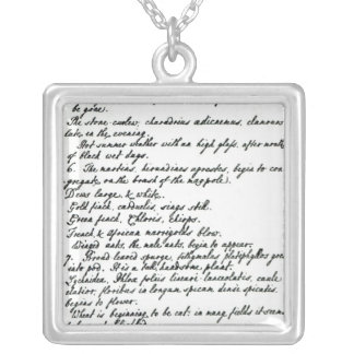 A page from the diary of Rev. James Woodforde Silver Plated Necklace