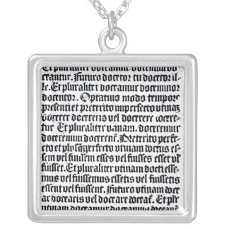 A page of the 'Grammaire Latine' Silver Plated Necklace