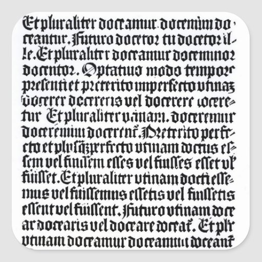 A page of the 'Grammaire Latine' Stickers