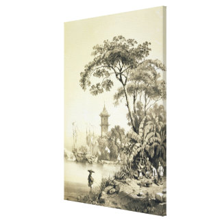 A Pagoda on the Macao-Canton Canal, plate 21 from Canvas Print