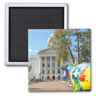 A Painted Cow Admires the Capital Building Magnet