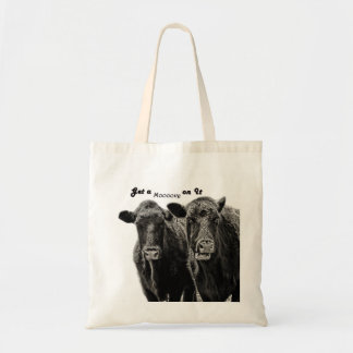 A Pair of Black and White Cows on Grocery Tote Bag