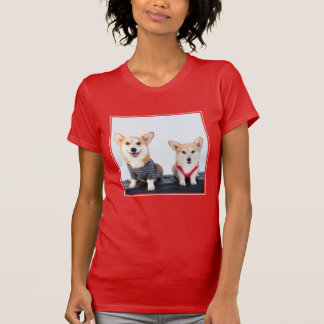 A Pair Of Corgis Sitting On A Bench T-Shirt