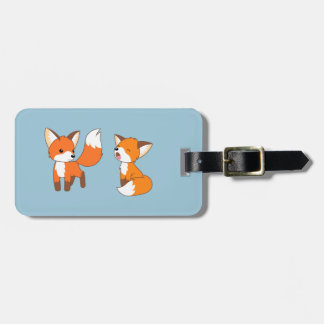 A Pair of Cute Little Fox on Blue Luggage Tag