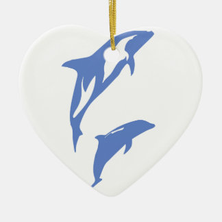 A Pair of Dolphins Ceramic Heart Decoration