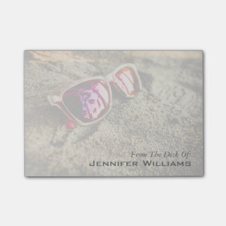 A Pair Of Fashionable Sunglasses On The Beach Post-it Notes