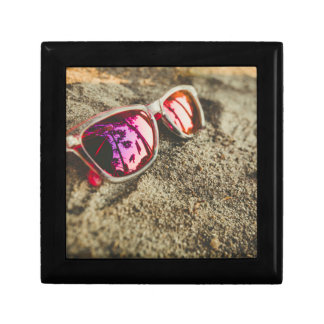 A Pair Of Fashionable Sunglasses On The Beach Small Square Gift Box
