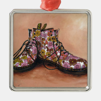 A Pair of Favourite Floral Boots Silver-Colored Square Decoration