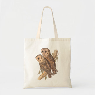 A Pair of Masked Barn Owls on a branch (painting). Canvas Bag